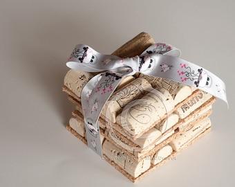 Wine Cork Coasters Set of 4 Wine Cork Crafts, Engagement Gift Ideas , Wedding Decor, Just Married, Wedding Gift, Wedding Favor