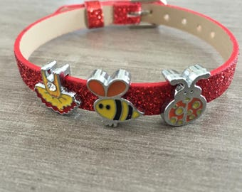 Glittery orange adjustable bracelet with charms