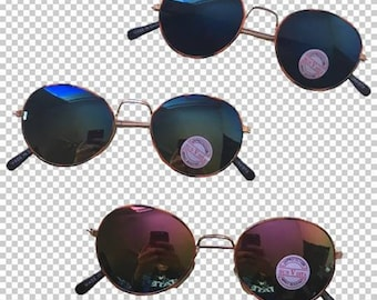 Y2K Vintage Metallic Reflective Sunglasses // Dead Stock Blue Red Black Colored Lens Oval Shades // 80s 90s Small Circle Wire Metal Frames