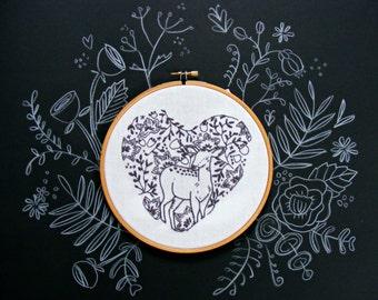 Love Heart embroidery pattern Pdf.  Deer and flowers design. DIY Valentines. Wedding gift . DIY hoop art. Printable pattern. Needle craft.