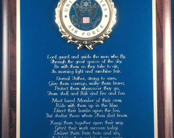 USAF / United States Air Force Prayer Plaque - Patriotic Gift or Award