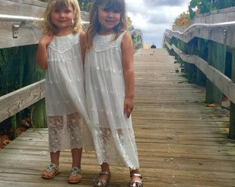 READY-to-SHIP * Rustic Flower Girl Dress, Boho Flower Girl dress, Beach Flower Girl Dress, white Flower girl dress, Embroidery-Lace