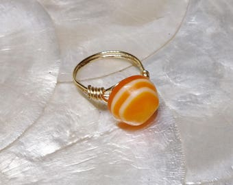 Wire Wrapped Button Ring, Vintage Orange Acrylic Button Ring, Gold Wire Wrapped Ring, Button Ring,Orange Button Ring, Size 7 Ring