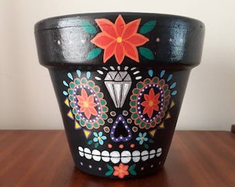 Black Sugar Skull Plant Pot