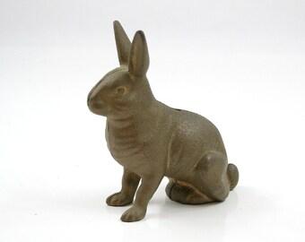 Antique Gold Cast Iron Rabbit Bank