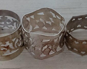 Lot of three vintage napkin rings