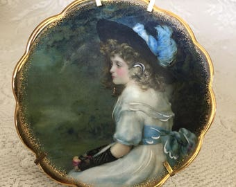 """Vintage mini small Limoges France cameo girl plate signed Pears or Spears 3.5"""""""