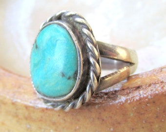Vintage Cripple Creek Turquoise and Sterling Silver Ring - Colorado, USA Natural Turquoise c.1970s size 3