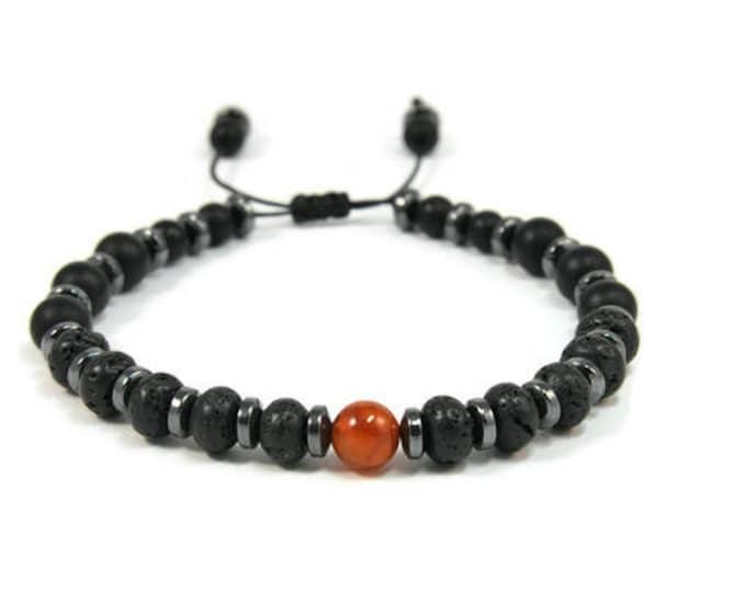 Urban Men's Agate Orange & Lava Pull Tie Single Bracelet. Boho Jewelry. Bohemian Jewelry. Ideas for him. Gift for him.
