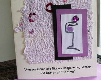Handmade Anniversry Card with  Humorous Quote about Aging and Wine