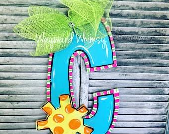 Summer Sunshine alphabet any letter wooden Door Hanger