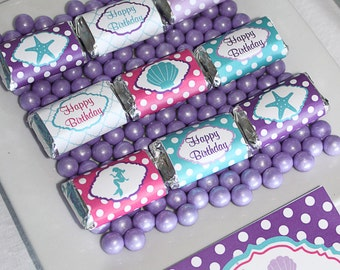 Ariel Inspired Little mermaid  Birthday Party  PRINTABLE Mini Candy Bar Wrappers purple teal favors treats INSTANT DOWNLOAD diy