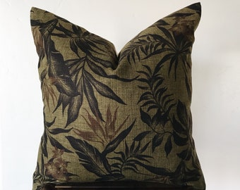 ROMA: Olive Barkcloth Palm Pillow Cover - 18x18 20x20