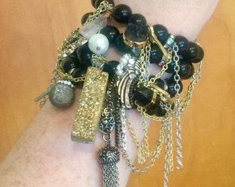 Black, Gold & Silver Druzy/Quartz/Tassel Bracelet Stack