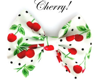White with Red Cherry Print Rockabilly Pin up Hair Bow Clip