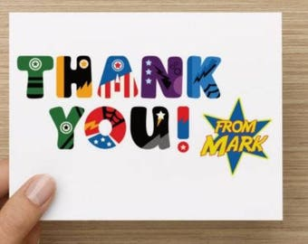 Thank you cards: Personally designed card with superhero inspired elements.   Personalized.  Multiple pack sizes available.