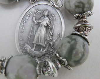 Saint Raphael The Archangel prayer Chaplet, Peace Jade Gemtones, Miraculous medal centre, Religious gift, Devotional set of Prayer beads.