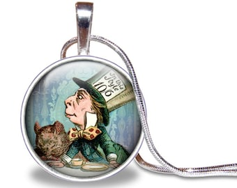 Mad Hatter Necklace, Mad Hatter Pendant, Mad Hatter Jewelry, Alice and Wonderland Necklace, Down the Rabbit Hole Jewelry, Silver Plated