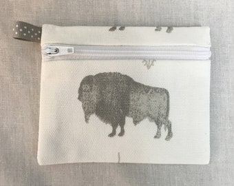 Gray Bison Zipper Coin Purse, Credit Card Wallet, Earbud Pouch, IPod Holder