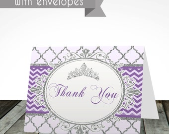 Royal princess thank you cards, PRINTED or digital, shipped with envelopes, princess thank you card, purple and silver, thank you card