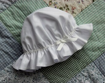 Baby Girls Hat Bonnet GOTS Fabric White Ivory Size Preemie - 2Y Summer Sunhat Beach hat Home coming outfit Newborn SigridandHelmer