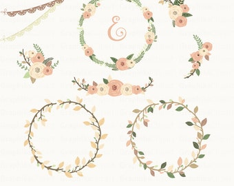 Rustic Wreaths Clipart. Wreaths Clipart, Floral Clipart, Vector Flowers, Rustic. 11 images, 300 dpi. Eps, Png files. Instant Download.