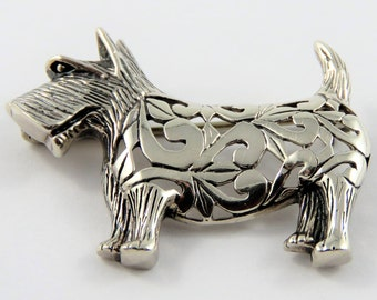 Sterling Silver Terrier Dog Brooch