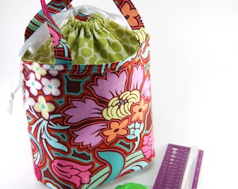 Knitting Project Bag, Carry All, Crochet Drawstring Bag, Bucket Bag, Amy Butler fabrics, bold floral and polka dots in pinks and green