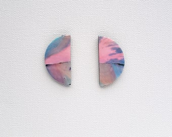 Sherbet fizz.  Alcohol ink painted semi-circle shaped studs.