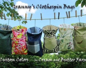 Large Heavy Duty Granny's Clothespin Bag of durable fabrics, ready to ship, Mothers Day gift, off-grid laundry, linedrying instructions