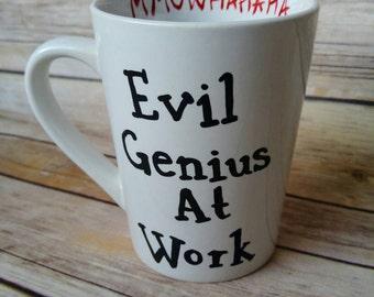 Evil genius at work muawhahaha hand painted coffee mug
