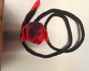 Black Floral necklace - felted necklace with tulip - necklace  Red Tulip