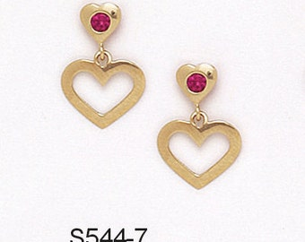 14K Pure Solid Yellow Gold Heart Earrings Ruby July Birthstone Set with Cubic Zirconia