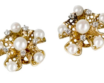 14k pearls & diamonds clip earrings mid century modern