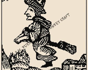 Flying Witch Woodcut Cross Stitch Medieval PATTERN
