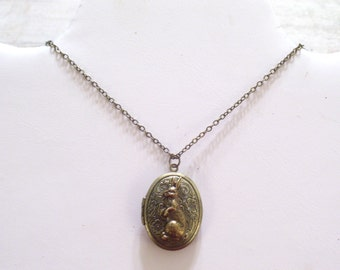 Bunny Locket, Brass Floral Locket, Brass Rabbit Locket Pendant Necklace, Flower Locket, Oval Brass Locket, Animal Jewelry, Easter Bunny