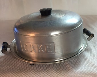 """Vintage Aluminum Metal Dome Cake Saver Cover w/ """"Wearever"""" Footed Aluminum Cake Plate Holer EVC"""