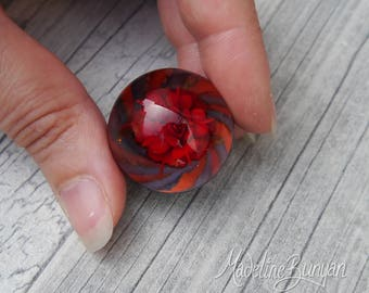 Everlasting Red Rose in Vortex Marble, unusual gift, collectible glass art, sphere, lampwork, flower, implosion