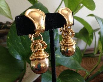 Norma Jean Earrings, Gold Drop Earring