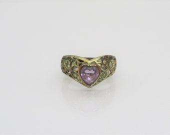 Vintage Jewelry Natural Amethyst Filigree V Ring Size 7