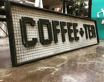 Coffee and Tea Wooden Retro Sign Wood Sign Subway Tile Sign Morning Cup Breakfast Nook Home Decor