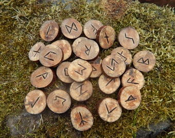 Hand Crafted & Branded - Birch Elder Futhark Runes. Divination.