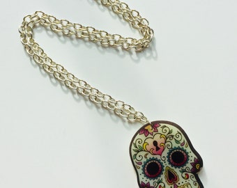 Skull | Sugar Skull | Day Of The Dead | Halloween | Printed | Laser Cut | Acrylic | Necklace