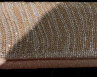 New Metallic Gold Body With Clear & Gold Rhinestone Flap  Evening Clutch Handbag