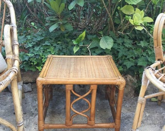 small vintage 60s rattan side table