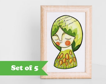 Spring postcards collection, illustration card lot set of 5 cute green and dreamy portrait