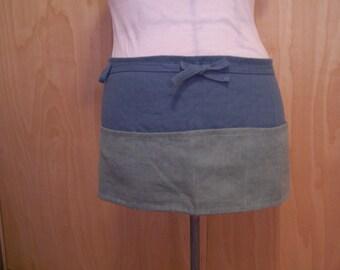 Linen cafe apron, 3 pocket half apron
