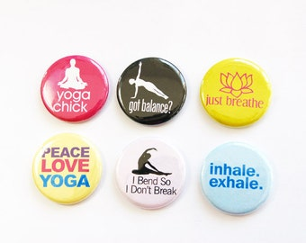 Yoga Magnets, button magnets, yoga, Locker Magnets, Kitchen Magnets, Fridge Magnets, stocking stuffer (3300)