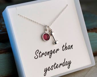 Stronger than yesterday / Fitness jewelry / Dumbbell Necklace / Weight lifting jewelry