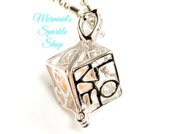 Sterling Love Box Pearl Cage Prayer Locket Pearl Locket Prayer Box Love Locket Heart Locket Opening Locket, Pearl & Chain Sold Separately
